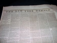 RARE ANTIQUE NEWSPAPER NEW YORK HERALD OCT 23rd 1847 WAR QUARTER Vol XIII 4887